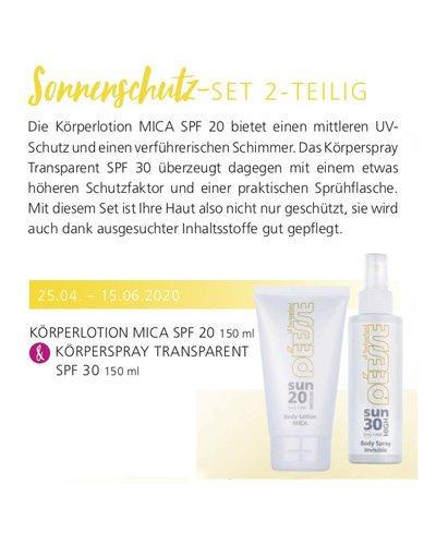 Regina Brüll Deesse Kosmetik Aktion Sonnenset Sonnenlotion SPF20 Mica und Sonnenspray SPF30