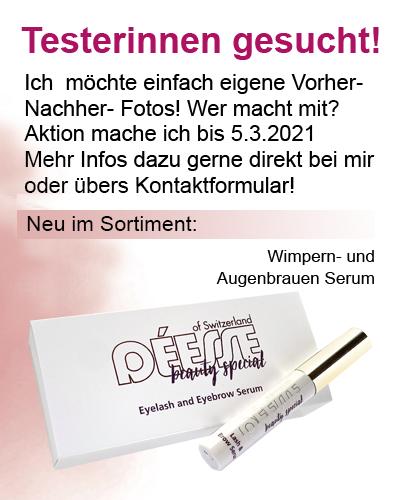 Regina Brüll Deesse Kosmetik Testerinnen gesucht für Wimpernserum